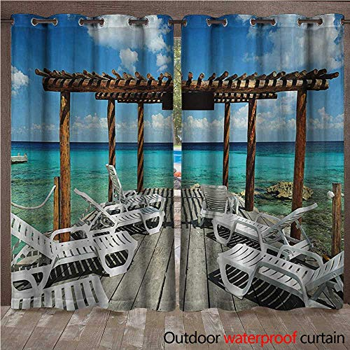 BlountDecor Travel Outdoor Curtain Panel for Patio Beach Sunbeds Ocean Sea Scenery with Wooden Seem Pier Image PrintW108 x L108 Blue White and Pale Brown (Pier Lighted Right)