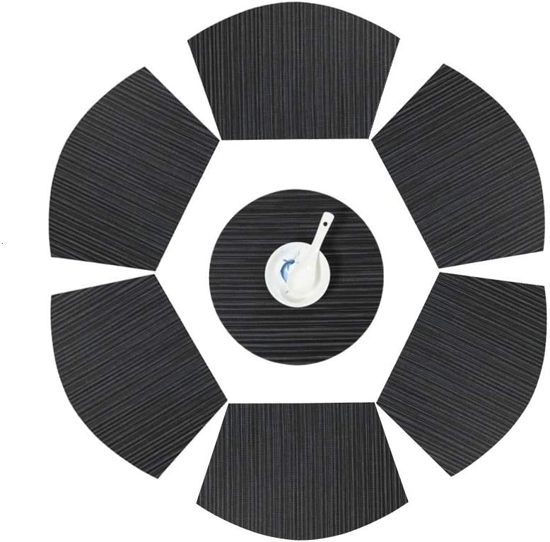 V-Shine Round Table Placemats Wedge Shaped Place Mat with Centerpiece Round Mat Heat Resistant Table Mats Washable, Set of 7 Placemats for Dining Table(Black)