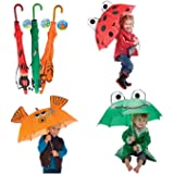 3 Pk Kids Umbrella - Ladybug, Frog and Goldfish for Boys and Girls