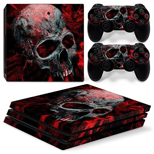 Chickwin PS4 Pro Vinyl Skin Full Body Cover Sticker Decal For Sony Playstation 4 Pro Console and 2 Dualshock Controller Skins (Skull Red)