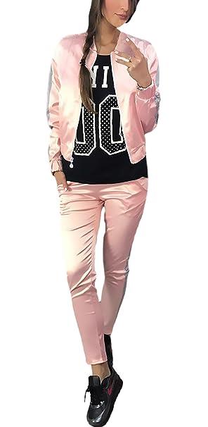 9557e5d407c5 Tute Donna Ginnastica Eleganti Manica Lunga Giacche con Zip Giacca E Lunghi Pantaloni  Sportivi Due Pezzi Set Autunno Inverno Sportive Baseball Giubbino ...