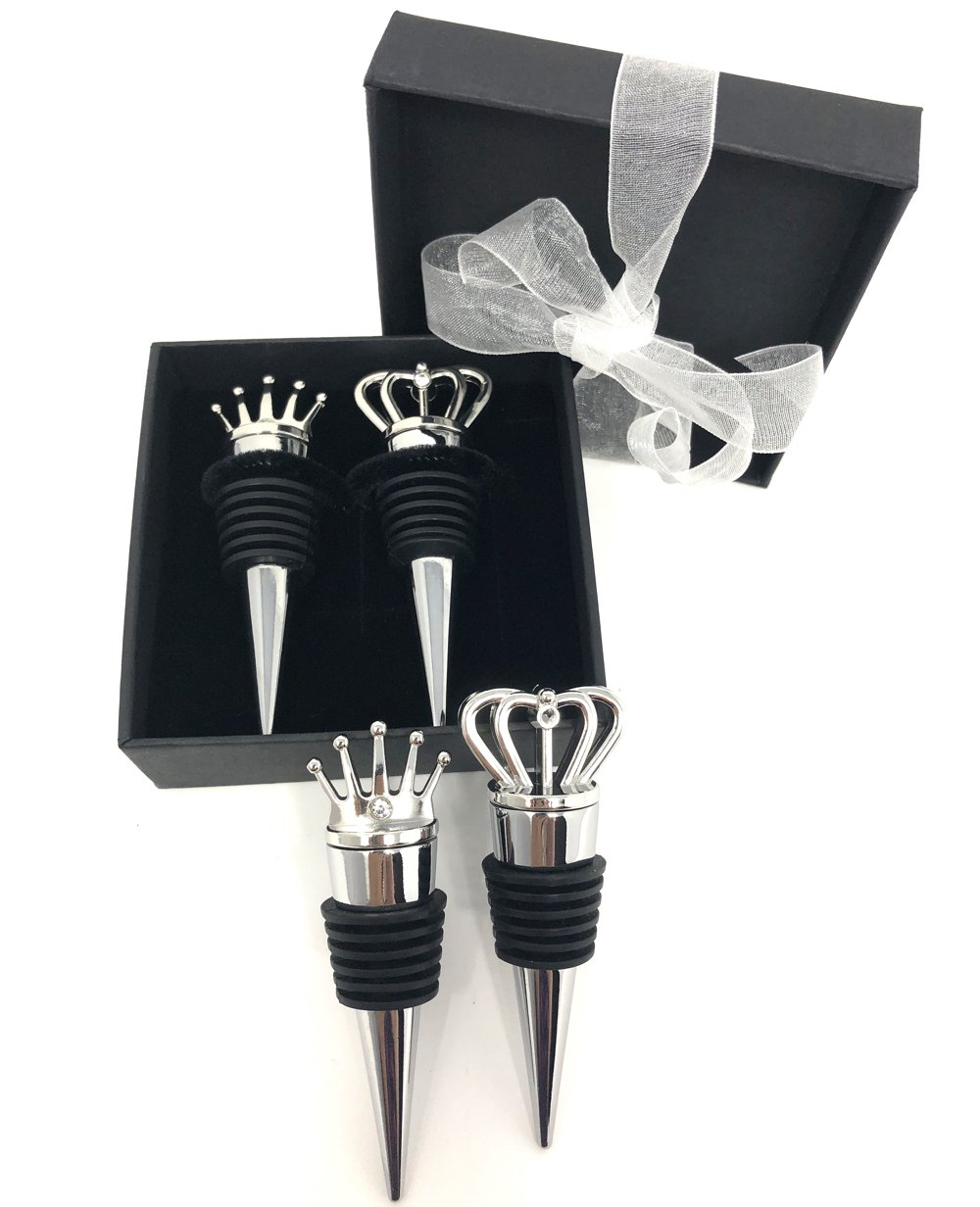 King and Queen wine stopper gift set with gift box and organza ribbon included excellent for wedding favors, birthday, anniversary gift, bridesmaids gifts or home use