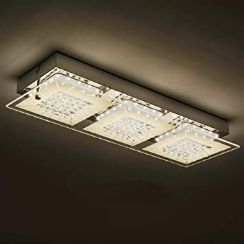 Led Flush Mount Ceiling Light Fixture 18 Inch Minimalist Crystal Chandelier Morden Dimmable Glass Indoor Ceiling Wall Lamp 1980lm 4000k Daylight White For Kitchen Island Porch Corridor Cloakroom Amazon Com