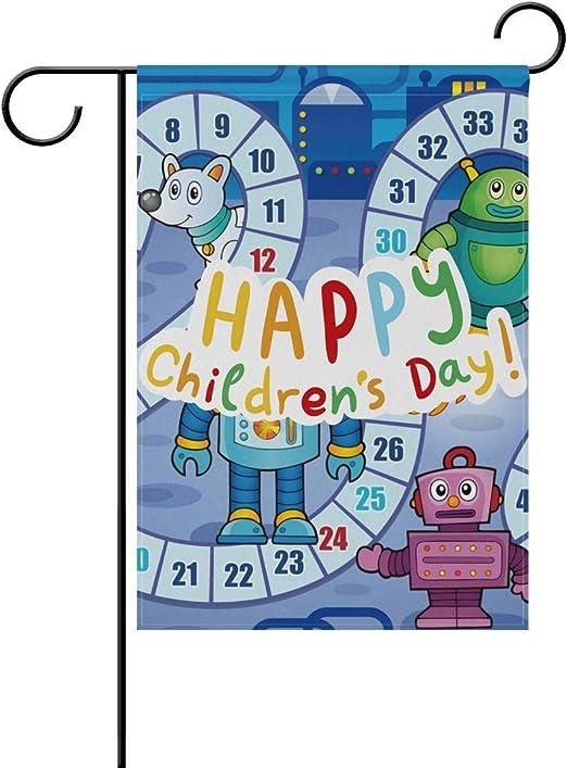 Buyxbn Bandera de jardín Feliz día de los niños Mesa Juego de Mesa Azul Pulgadas Doble Cara casa Patio Patio Exterior decoración de Temporada, poliéster, Color-1, 28