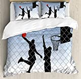Boy's Room Queen Size Duvet Cover Set by Lunarable, Basketball in the Street Theme Two Players on Grungy Damaged Backdrop, Decorative 3 Piece Bedding Set with 2 Pillow Shams, Pale Blue Grey Black