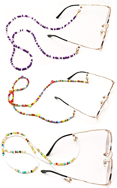 SYSHAN 3PCS Face Mask Glasses Lanyard necklace for Men Women Eyeglass Chains Mask Lanyard Strap Adjustable Face Mask holder with Clips Elderly Children