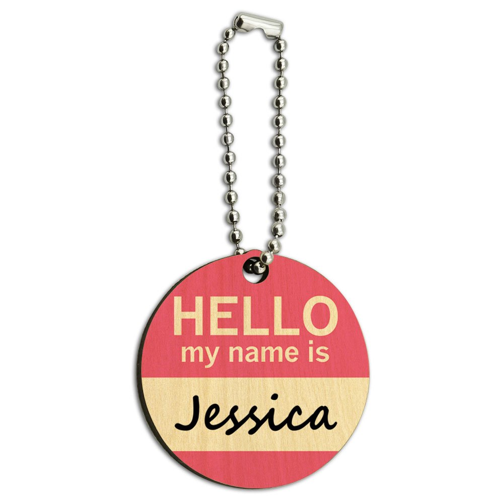 Jessica Hello My Name Is Wood Wooden Round Key Chain