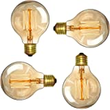Edison Bulb - Elfeland Vintage Antique Style Incandescent Light Bulbs - Squirrel Cage Filament - Classic Amber Glass - G80 - E26/E27 Medium Base - Dimmable - 4 Pack