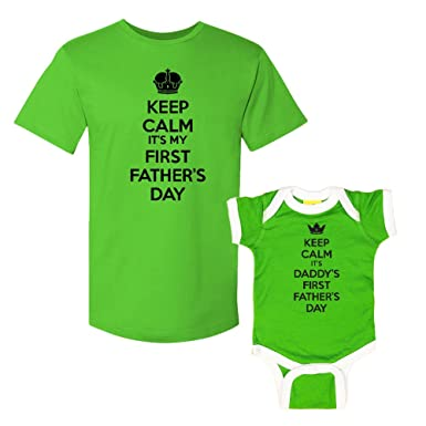 ac2329db Keep Calm It's My & Daddy's First Father's Day - Matching T-Shirt & Ringer Baby  Bodysuit Set: Clothing