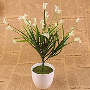 Artificial Lily Artificial Lillies - New Beautiful 25 Heads/Bouquet Mini Artificial with Leaf Silk Fake Lily Aquatic Plants Home Room Decoration Flower - Artificial Lilies (White) 77