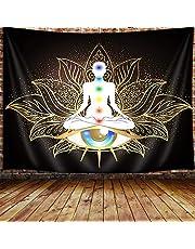 JAWO Seven Chakra Tapestry, Mandala Eyes Yoga Meditation Zen Decor Tapestry Wall Hanging for Bedroom, Hippie Golden Black Lotus Spiritual Tapestries Poster Beach Blanket College Dorm Home