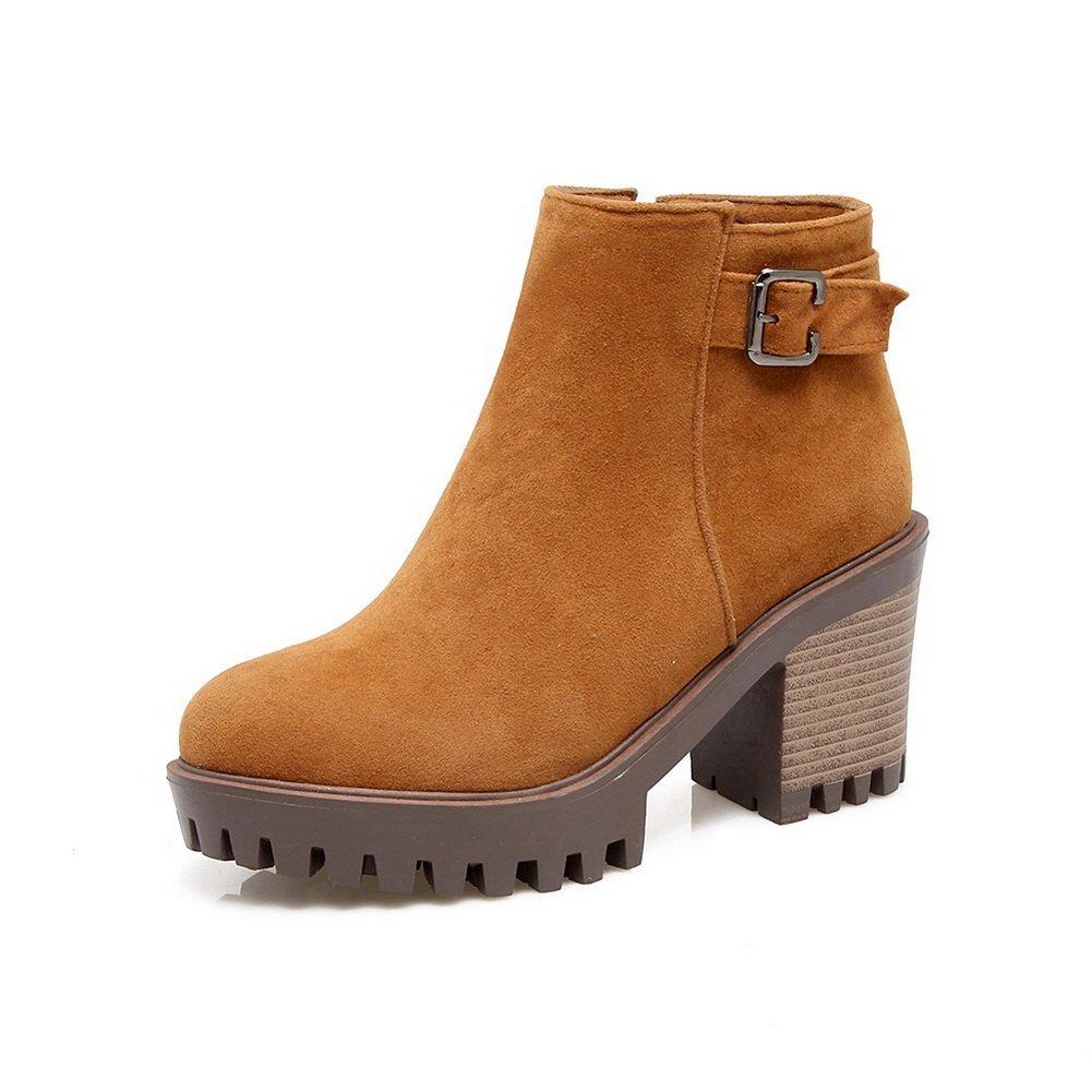 BalaMasa Womens Platform B0792GPNV9 Metal Buckles Zip Suede Boots ABL10602 B0792GPNV9 Platform Platform a157eb