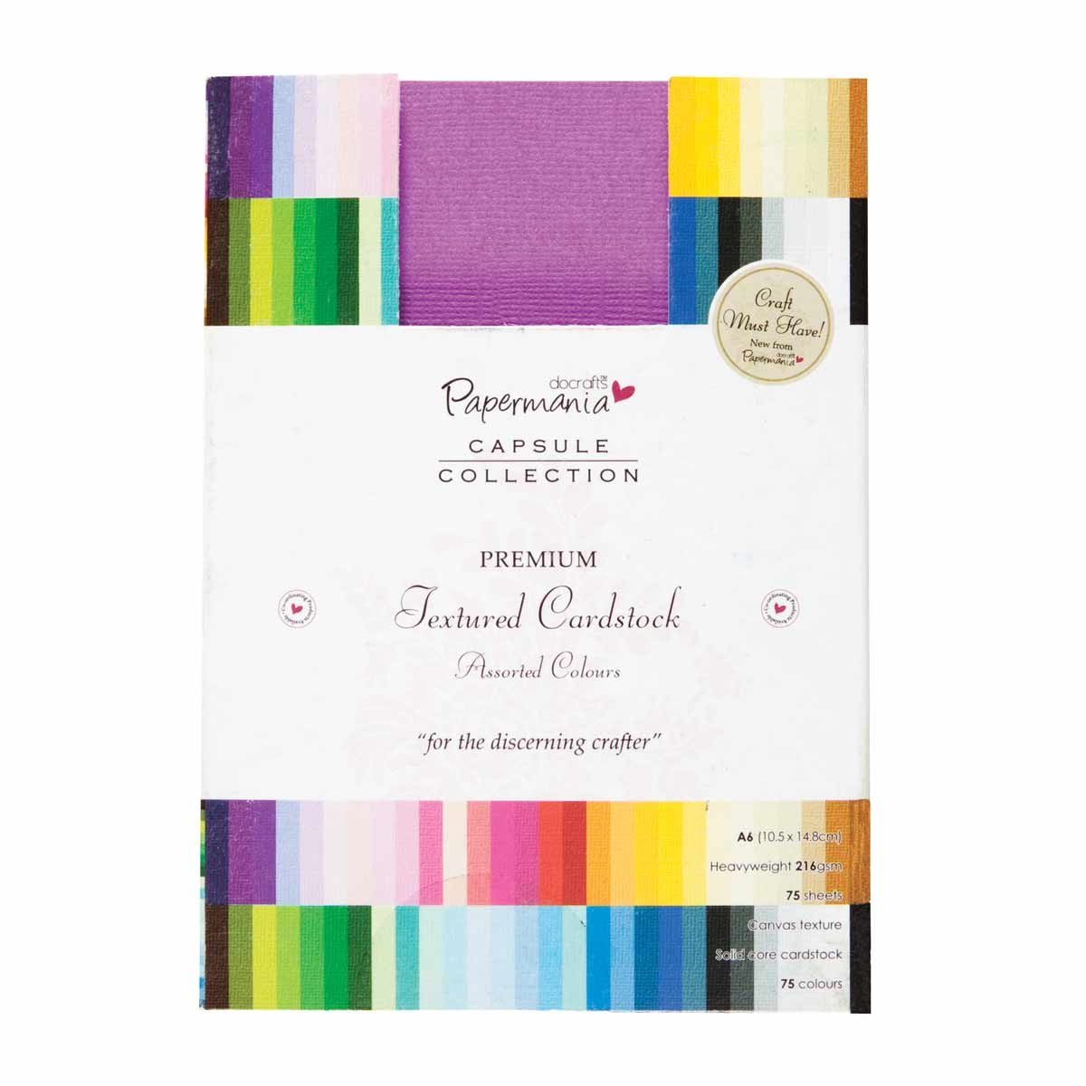 Multi colored cardstock paper - Amazon Com Docrafts Papermania Premium Textured Solid Cardstock Pack A6 75 Pack Multicolor