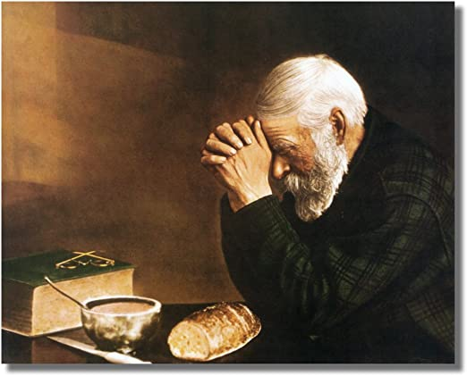Old Woman Praying Dinner Table Daily Bread Religious Wall Picture 8x10 Art Print