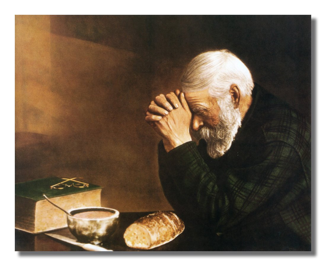 Amazon Daily Bread Man Praying At Table Grace Religious Wall Picture W V Matted Oak Framed Art Print Posters Prints