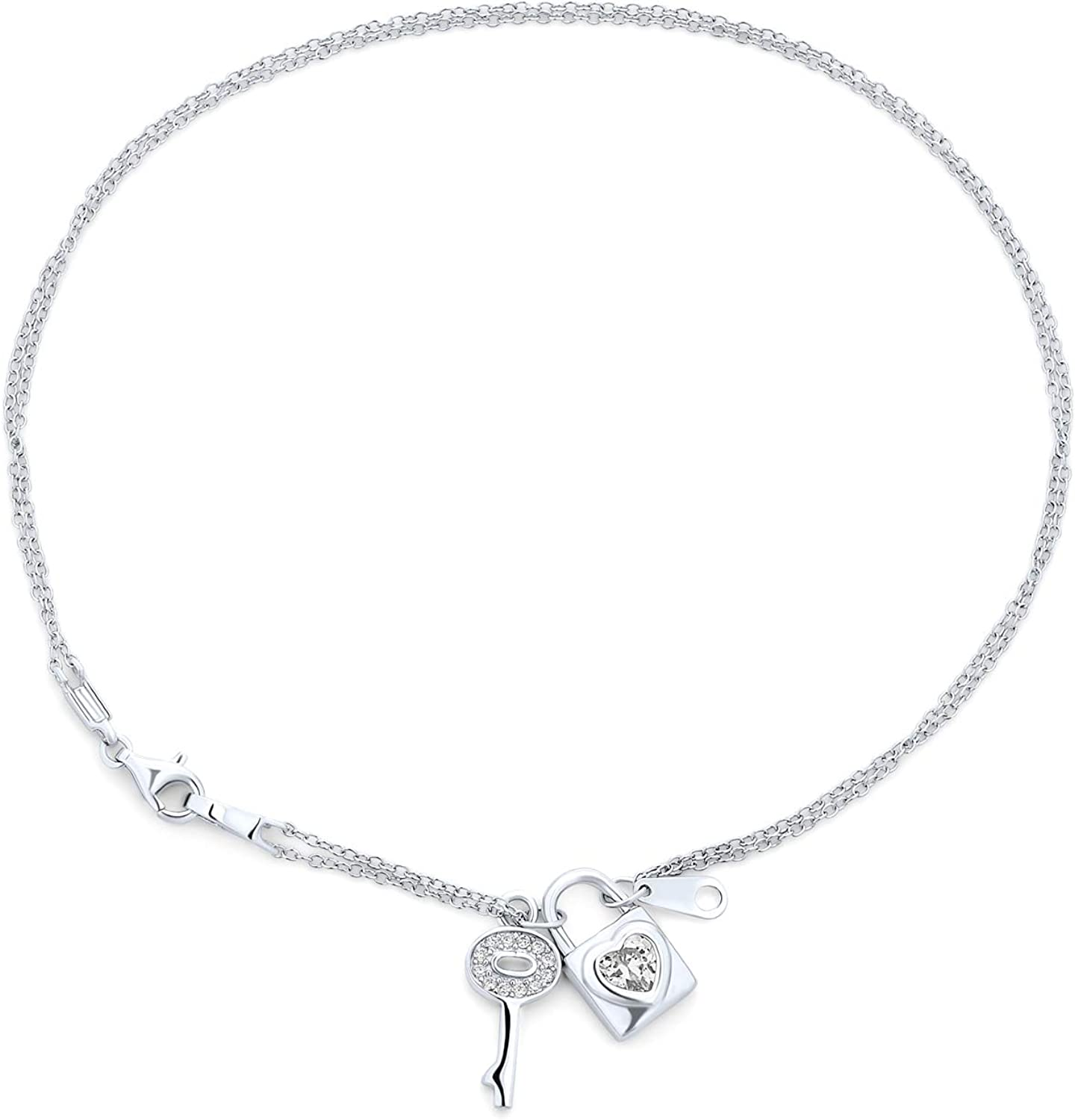 Solid 925 Sterling Silver CZ Cubic Zirconia Heart Key Lobster Charm Pendant