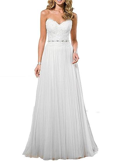 XUYUDITA Las mujeres flool simple Novia longitud vestido de novia de encaje de tul vestidos de boda de la playa: Amazon.es: Ropa y accesorios