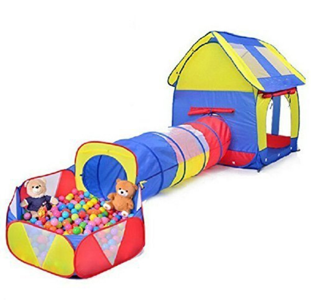 Truedays Kids Playhouse Adventure Play Tent Indoor Outdoor Tunnel Pool 3 Pieces Set (Ball Is Not Include)