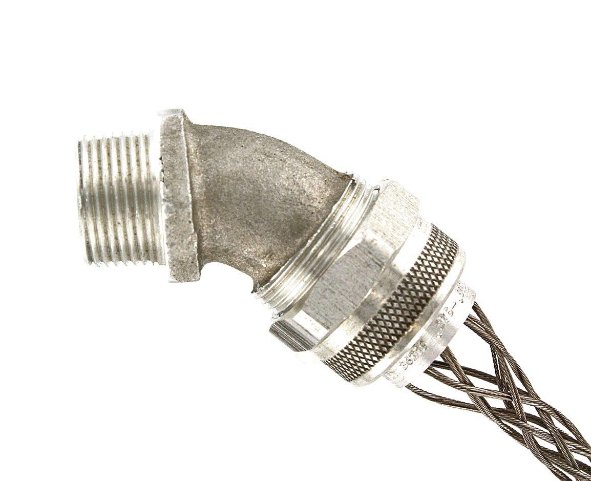 Leviton L7806 3/4-Inch, 45-Degree, Male, Aluminum Body, Deluxe Cord Sealing Strain-Relief.375 to .500 Cord Range