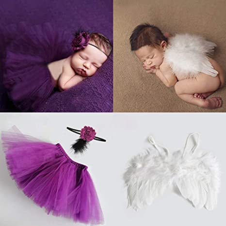 Newborn Baby Girls Boys Costume Photo Photography Prop Outfits Headband Skirt