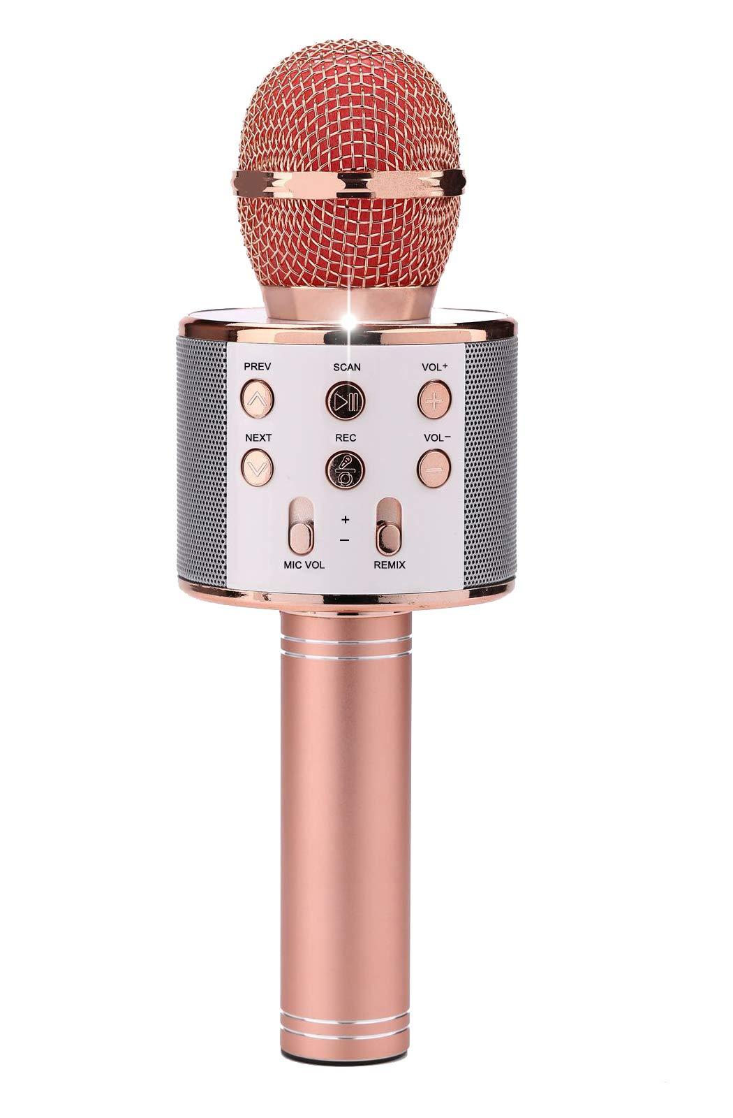 Magic Sound & FM Wireless Bluetooth Karaoke Microphone 3-in-1 Portable Speaker Machine (Rose Golden) by Natasa
