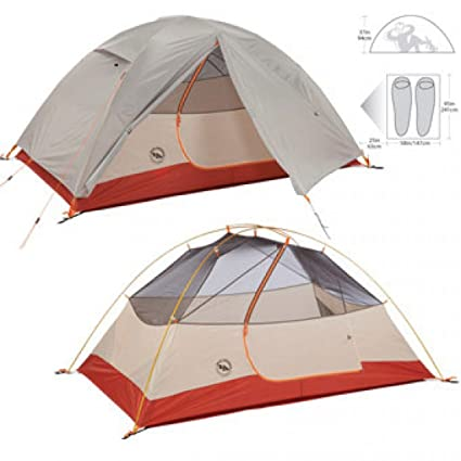 Amazon com : Big Agnes Lone Spring 2 Tent Grey/Red 2 Person