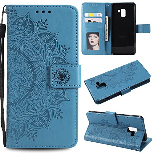 Galaxy A8 2018 Floral Wallet Case,Galaxy A8 2018 Strap Flip Case,Leecase Embossed Totem Flower Design Pu Leather Bookstyle Stand Flip Case for Samsung Galaxy A8 2018-Blue by Leecase
