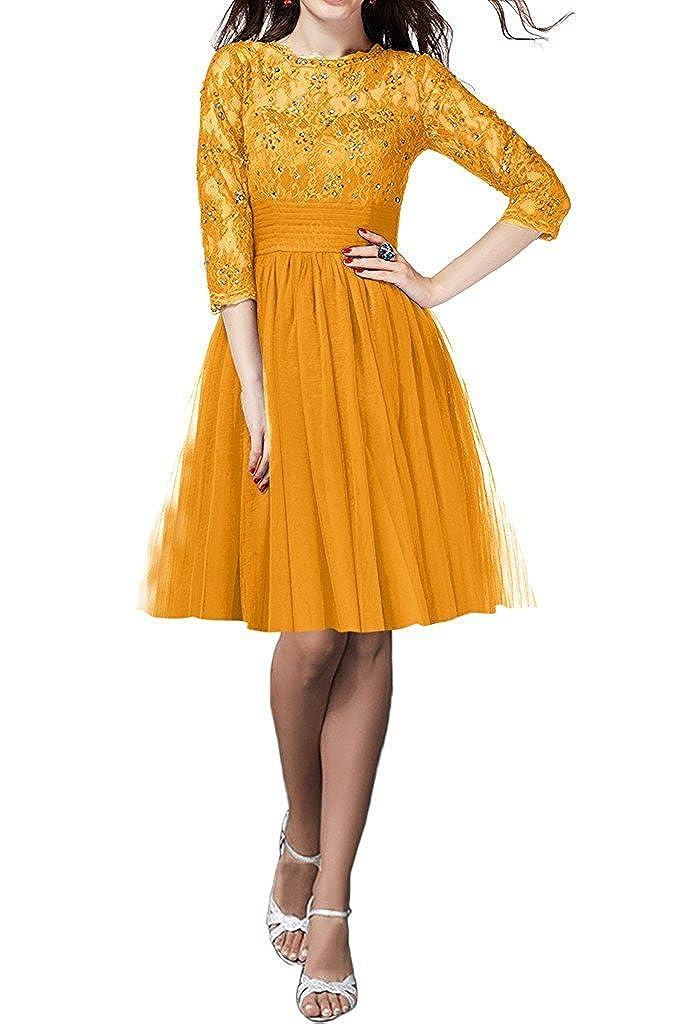 gold orange QY Bride Gorgeous Lace Bridal Party Dresses for Bridesmaid 3 4 Sleeve