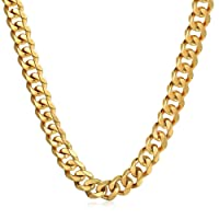 Trendsmax 14.5mm Heavy Polished Silver Gold Tone Curb Cuban Mens Chain Boys 316L Stainless Steel Necklace 18-36inch