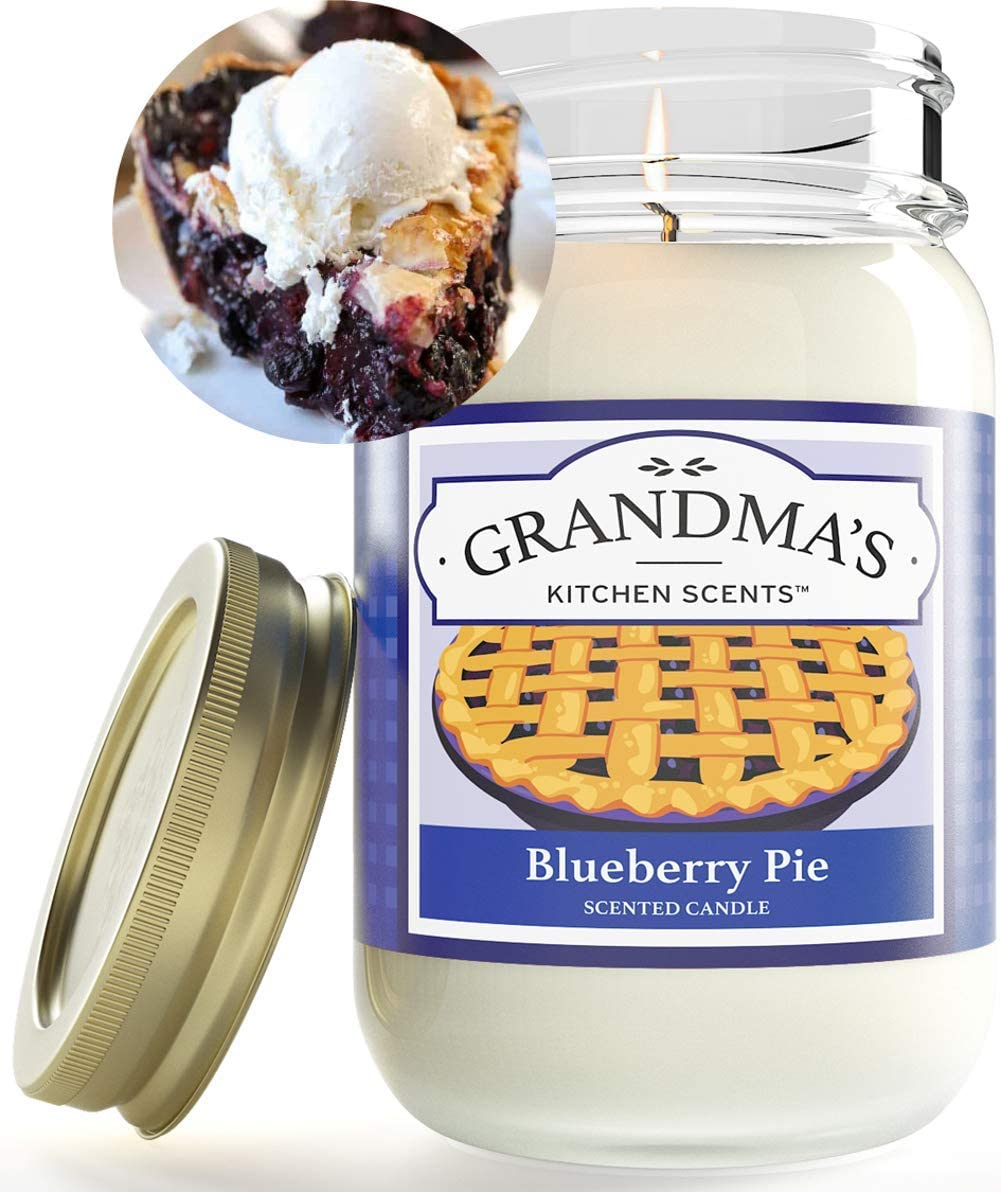 Blueberry Pie Scented Candles for Home | Non Toxic Long Lasting Soy Candles | Delicious Scent | Large 16 oz Mason Jar | Hand Made in The USA