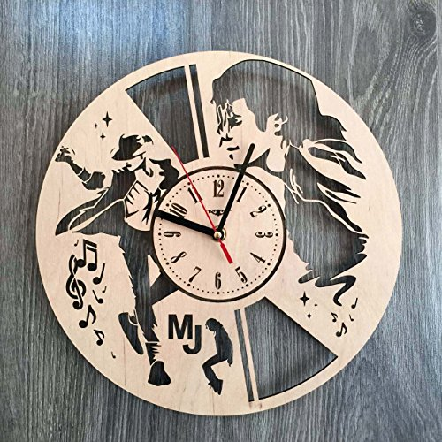 Michael Jackson Wall Clock Made of WOOD - Perfect and Beautifully Cut - Decorate your Home with MODERN ART - UNIQUE GIFT for Him and Her - Size 12 Inches (Michaels Centerpieces Wood)