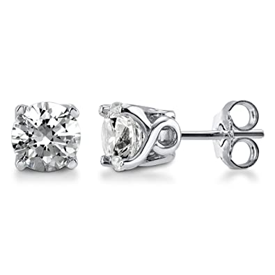 db57eedef Image Unavailable. Image not available for. Color: Rhodium Plated Sterling  Silver Solitaire Stud Earrings Set w/Swarovski Zirconia Round ...
