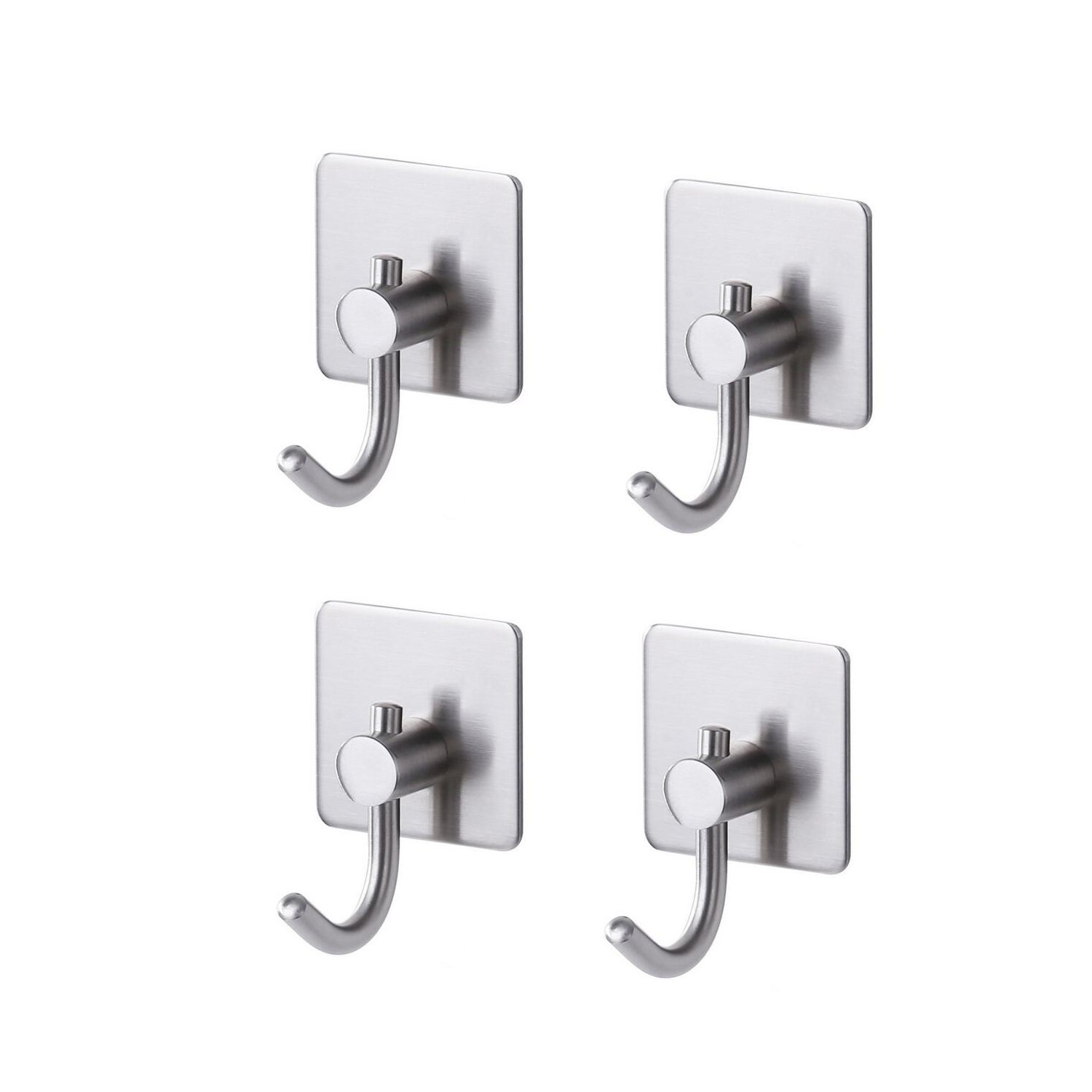 Togu SUS 304 Stainless Steel Self Adhesive Hook Heavy Duty Wall Hooks Nail-Free Waterproof Stick On Bathroom Kitchen Door For Keys Hats Towel Coats, Brushed Finish,4pcs by Togu