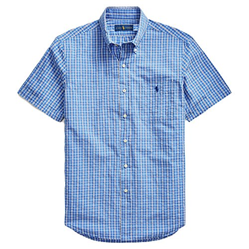 RALPH LAUREN Polo Mens Short Sleeve Seersucker Sport Shirt (Classic BluNvyMulti, Small)