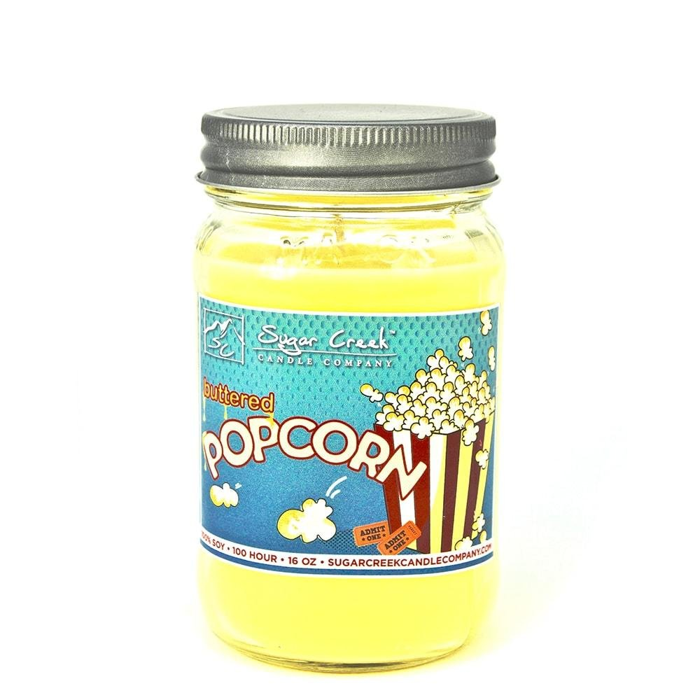 Buttered Popcorn (Movie Theater Style) 100% Soy Wax Candle. Soy Candles Burn Cleaner ~ Longer ~ Non-Toxic ~ THE ORIGINAL 100% Yinzer Made in USA. Gift For Any Occasion - Sugar Creek Ca