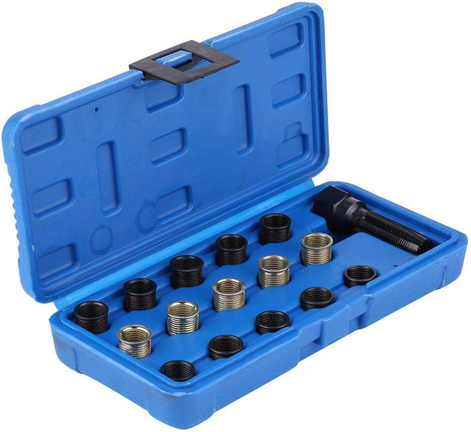 Spark Plug Thread Repair Rethreading Set 16Pcs 14mm x 1.25 Thread Repair Kit Rethreading Tool Set Tap with Portable Case