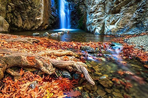 111203-39 Magic Waterfalls. 8x10 Matted Photograph, Nature Landscape. Best for Home and Office Wall Art Room - Photographic Dye Magenta