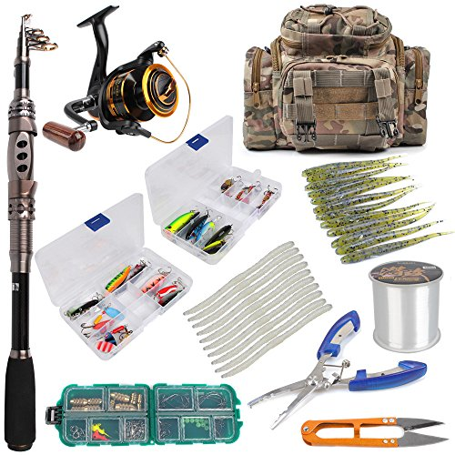 Dr.Fish [Spring Sale] Fishing Rod and Reel Combos Package Outfit 125pcs Full Kit Lines Lure Bait Accessories Fishing Carrier Bag Gear Organizer Saltwater Freshwater (Tackle Texas)