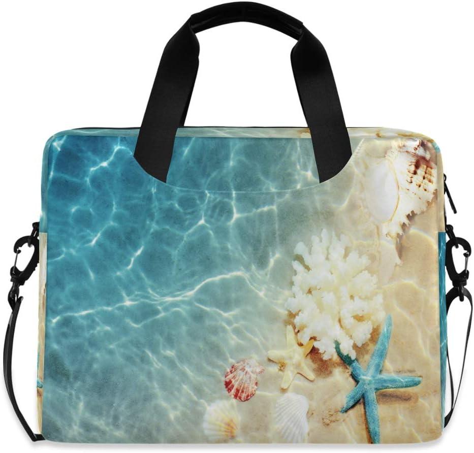 MAHU Laptop Case Bag Ocean Beach Starfish Animal Seashell Laptop Sleeves Briefcase 13 14 15.6 inch Computer Messenger Bag with Handle Strap for Women Men Boys Girls