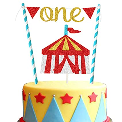 Terrific Circus First Birthday Cake Topper For Vintage Circus Tent Big Top Personalised Birthday Cards Veneteletsinfo