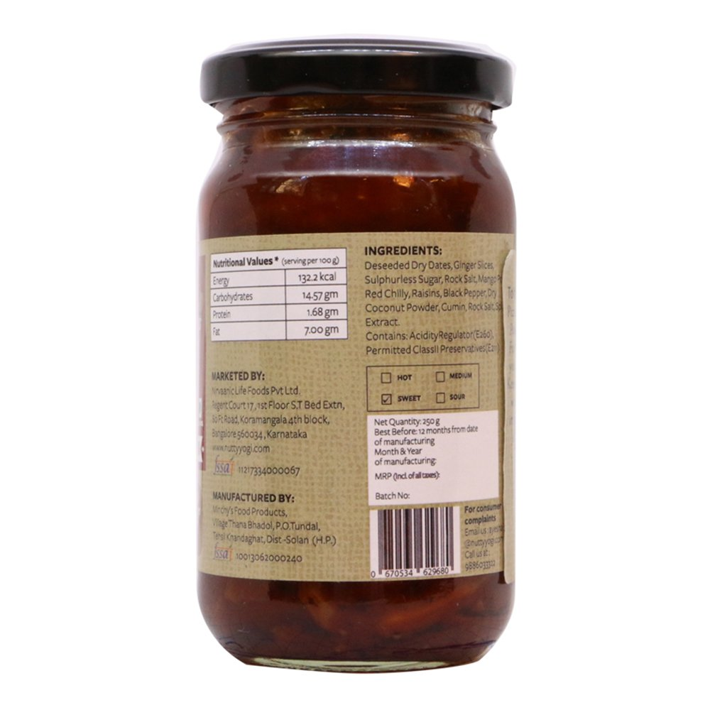 Dry Date and Ginger Chutney, 250gm (8.8 oz) by Nutty Yogi