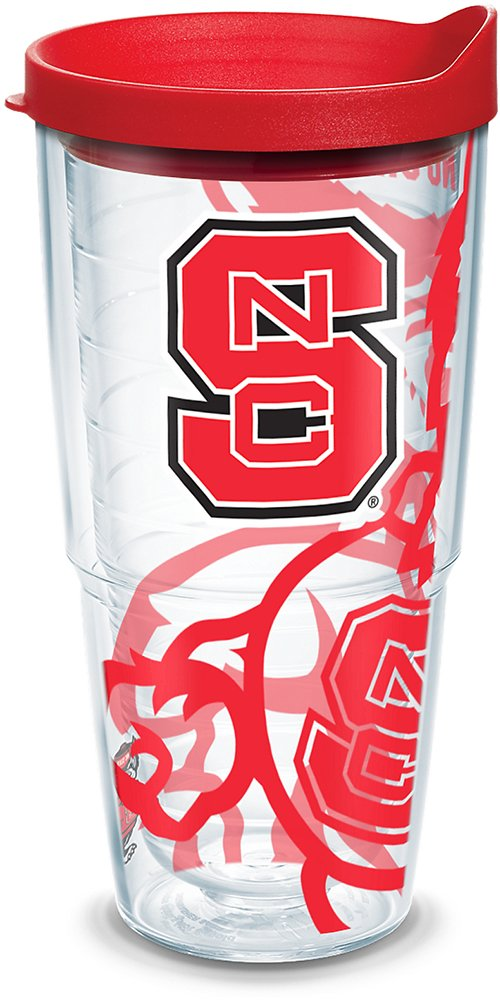 Tervis 1289649 NC State Wolfpack Insulated Tumbler with Wrap and Red Lid 24oz Clear