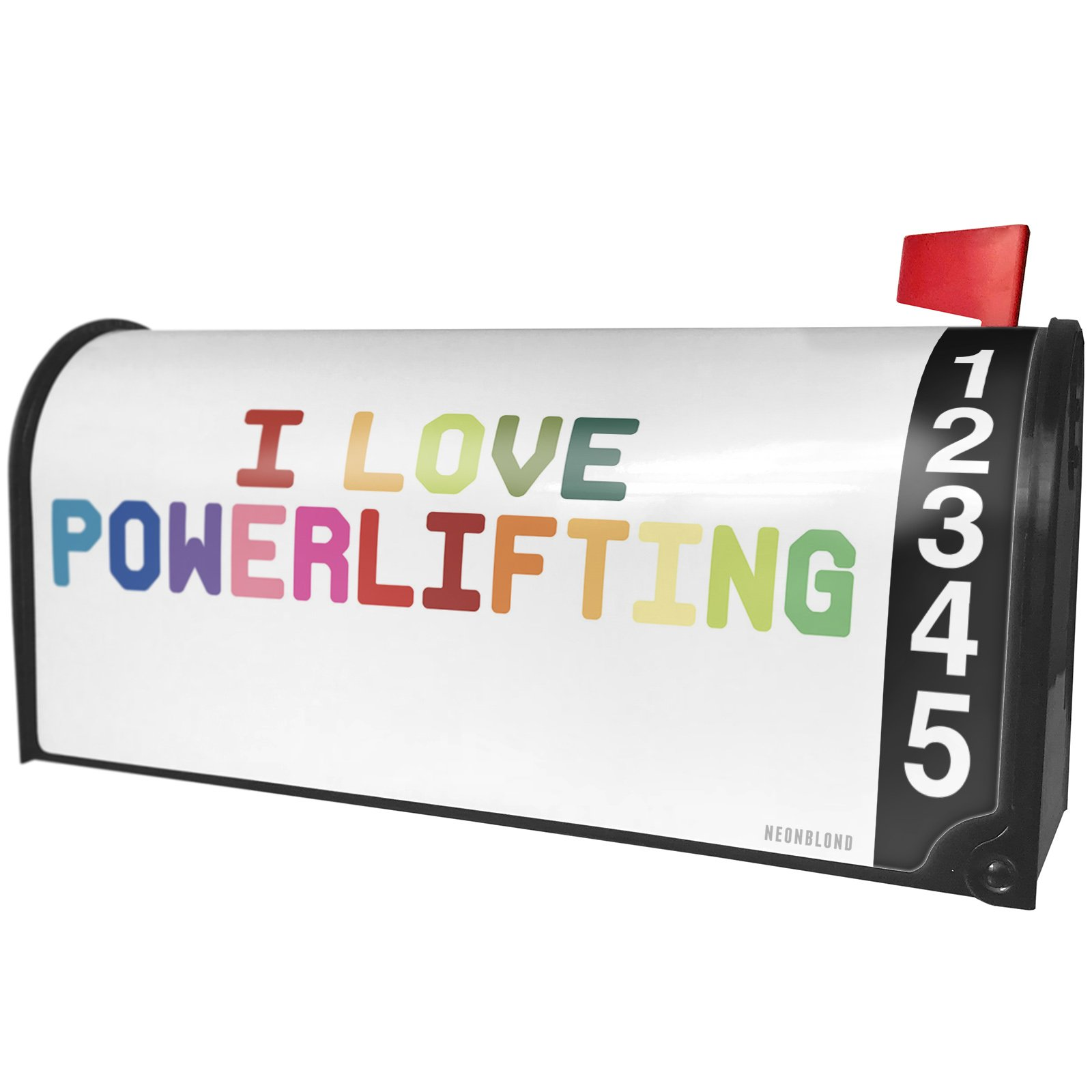 NEONBLOND I Love Powerlifting,Colorful Magnetic Mailbox Cover Custom Numbers