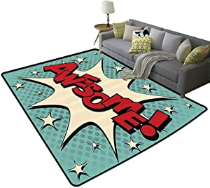 Vintage Decor Collection Contemporary Area Rugs Comic Bubble in Pop Art Style with Awesome and All Star Icon Humor Cartoon Foldable Yellow Red Blue, 6'x 8'(180x240cm)