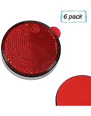 AOHEWEI 6 x Réflecteurs Signalisation Remorque Rond Auto-adhésifs Coller sur Rouge CirculairesCatadioptre Réflexe de Sécurité pour CaravaneAgricole Machines Approbation de l'ECE (Rouge)