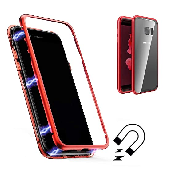 Galaxy S7 Edge Magnetic Adsorption Case,Shinetop Metal Frame Tempered Glass Back with Built-in Magnet Flip Cover [Support Wireless Charging] Full Body ...