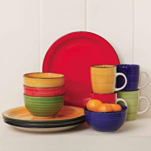 Gibson Home Color Vibes 12 pc Dinnerware Set, 4 Assorted Colors