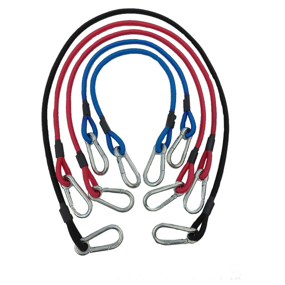 Carabiner Super Heavy Duty Bungee Cords with Hooks Proudly Made in USA By Super Smithee 3/8 UV Protected Cord 1 - 48'' Black 2 - 36'' Red 2 - 24'' Blue