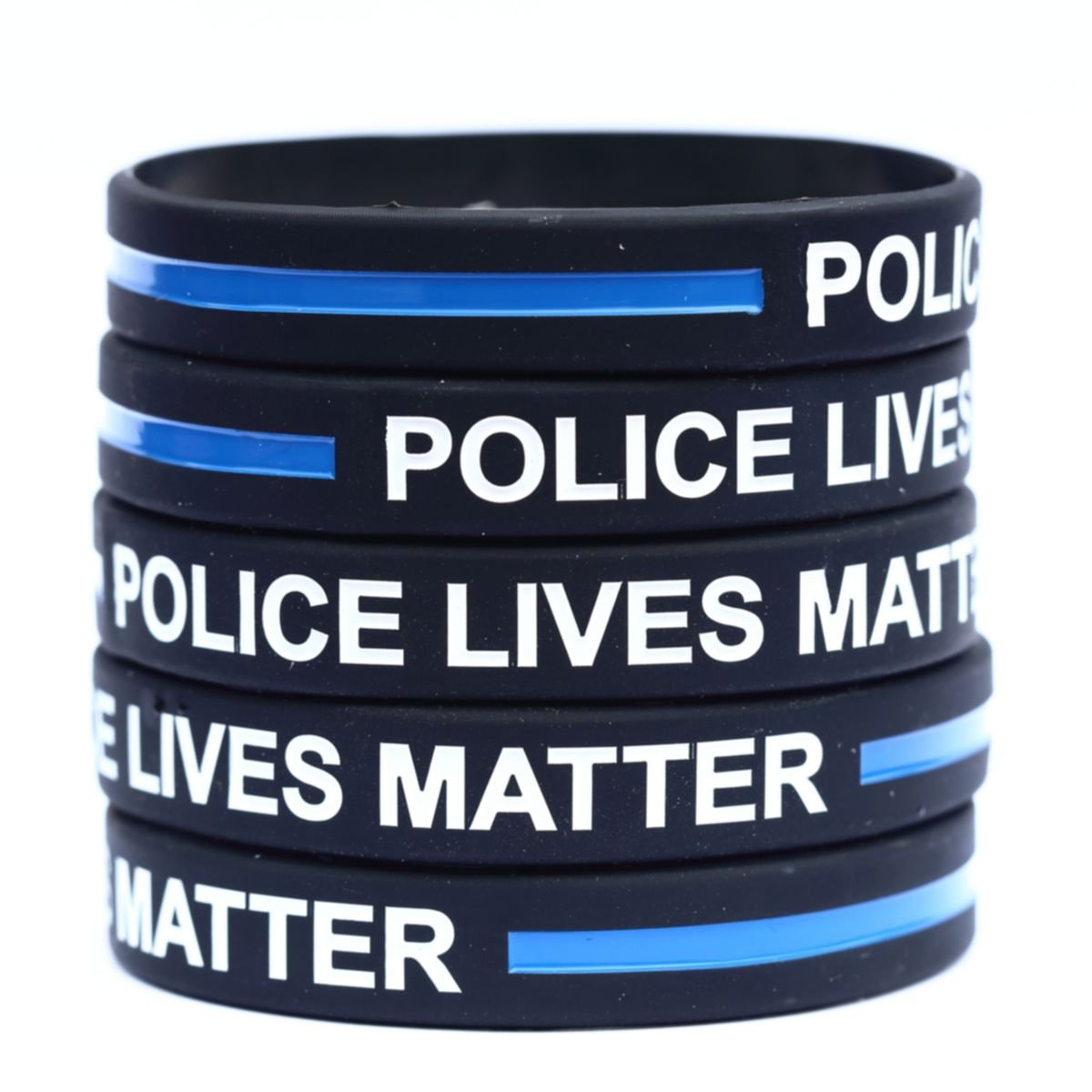 100 Police Lives Matter Thin Blue Line Silicone Wristbands in Support Memory Police Officer by SayitBands (Image #1)