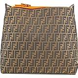 Fendi Handbag Large Zucca Orange Leather Brown Jacquard Hobo Shoulder Bag...